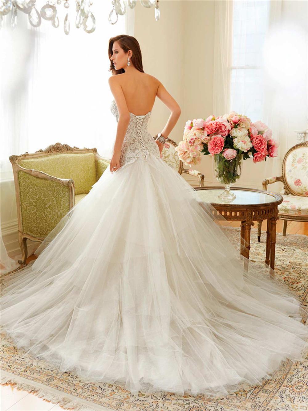 Romântico sexy lace querida sereia vestido de casamento Backless 2016 nova chegada mangas apliques vestido de noiva