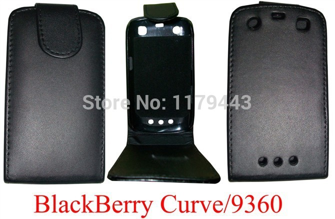 BLACK PU LEATHER FLIP CASE COVER Skin Open from Up For BLACKBERRY 9360 Phone Cases Free Shipping(China (Mainland))