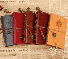 2015 Retro Vintage leather notebook traveler journal kraft paper Mini notebook blank pages sketchbook diary A7 pocket notepad