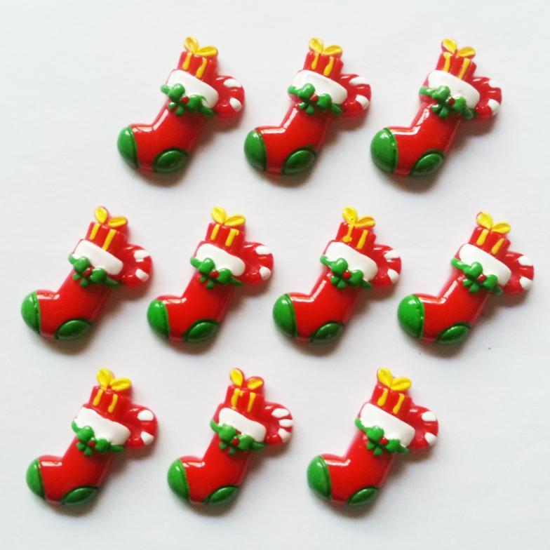 50pcs Christmas Stocking Socks for X'mas Resin Cabochons Flatbacks Flat Back Hair Bow Center Cell Phone Crafts RE-193(China (Mainland))