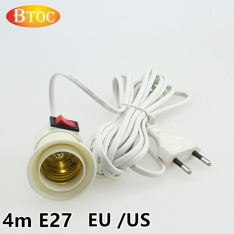 4 meters long E27 bulb bases white / black EU / US Connector plug Suspension type lamp holder E27 ball bases Light switch(China (Mainland))