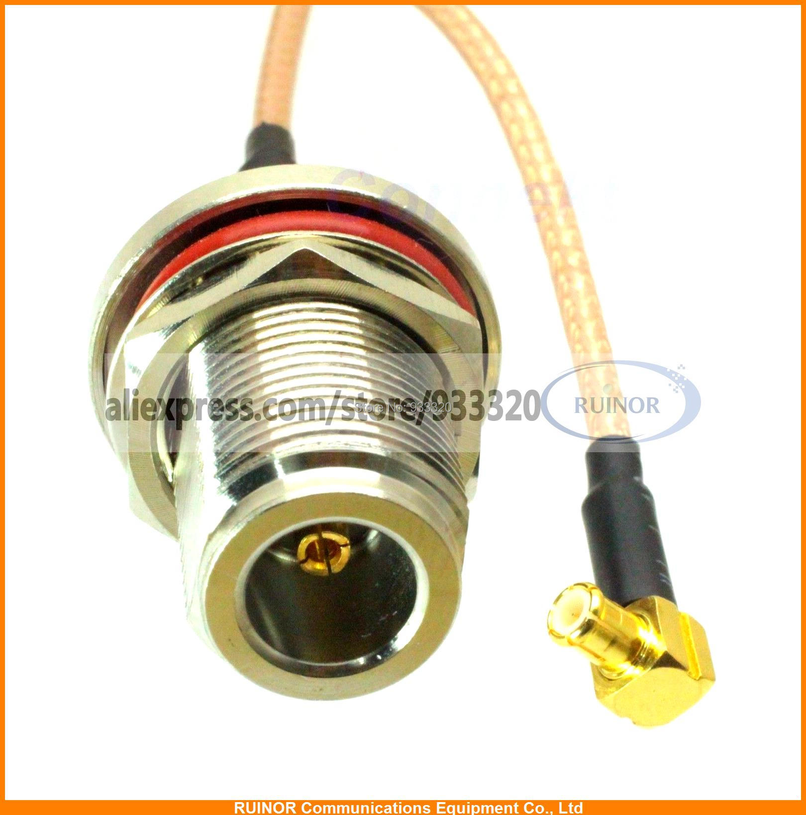 5pcs/lot N female nut bulkhead to MCX male right angle RG316 cable jumper pigtail 15cm(China (Mainland))