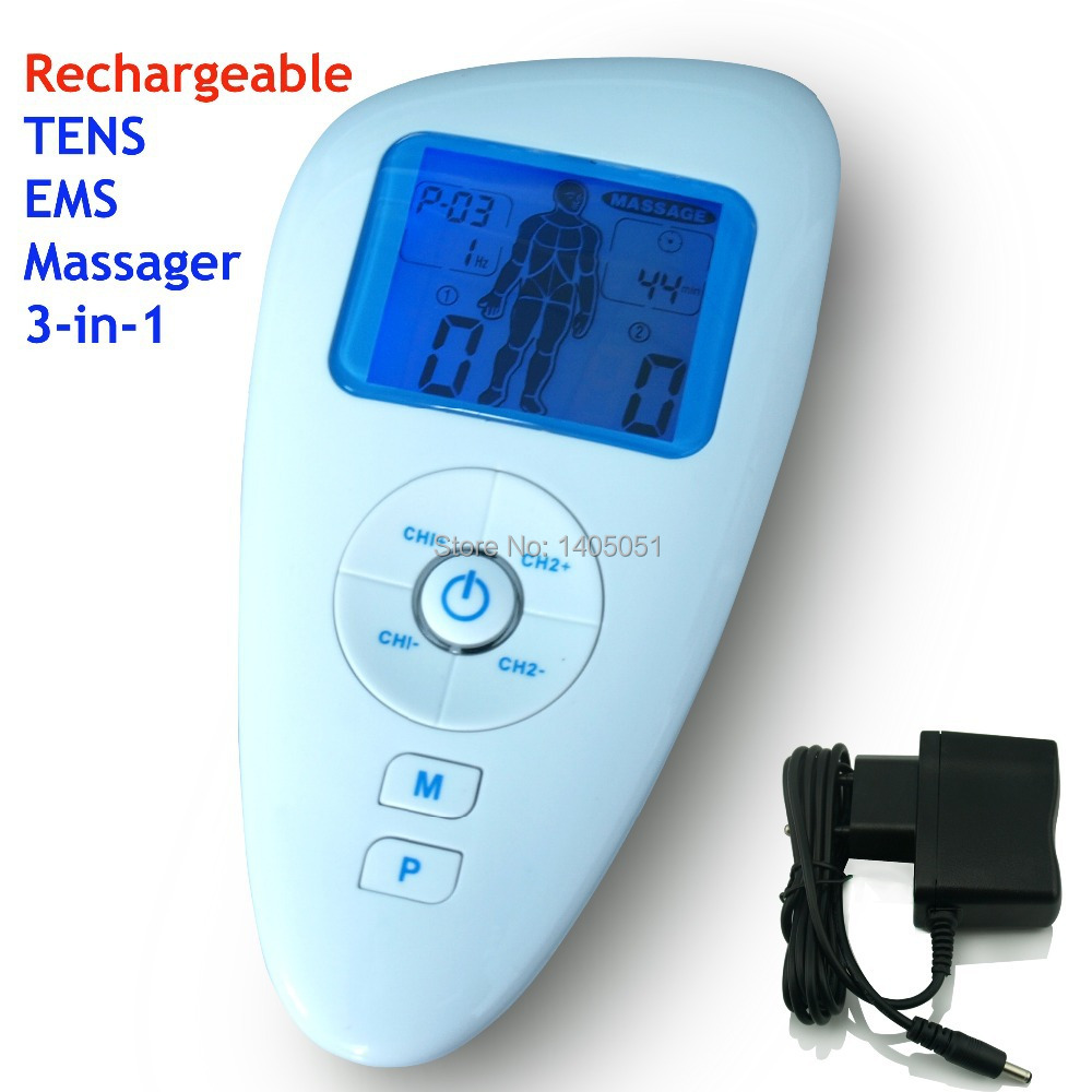 body massager Rechargeable dual channel TENS EMS Massager three in one(China (Mainland))
