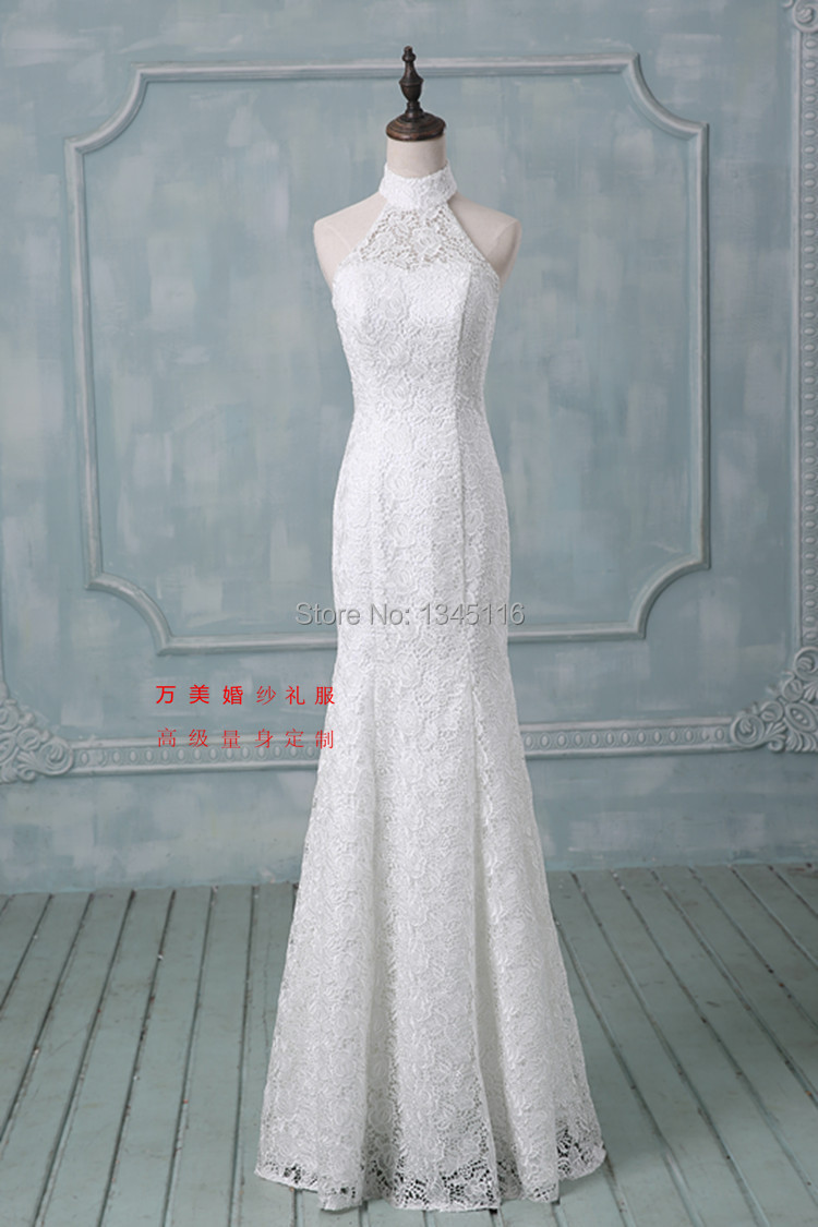 2016 latest halter lace mermaid wedding dresses plus size standard size real sample bridal gown for Mermaid halter wedding dresses