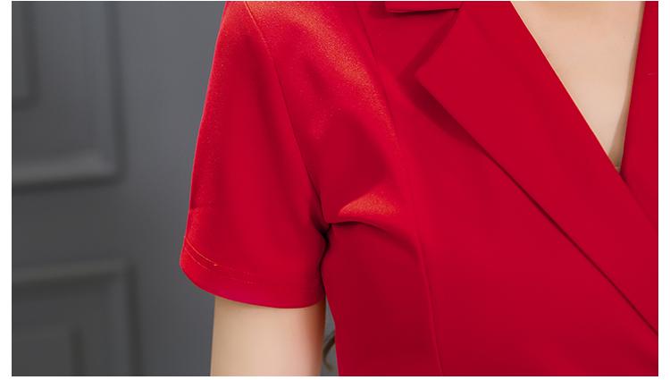 2016 Spring And Summer Slim Package Hip Step Dress Occupation Slit V-neck Plus Size Pencil Work Black Red Dresses