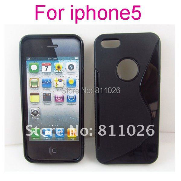 for iphone5 Free shipping S Line Case for iphone 5,Gel TPU Silicone Case Style for iphone5,high quality,30pcs/Lot