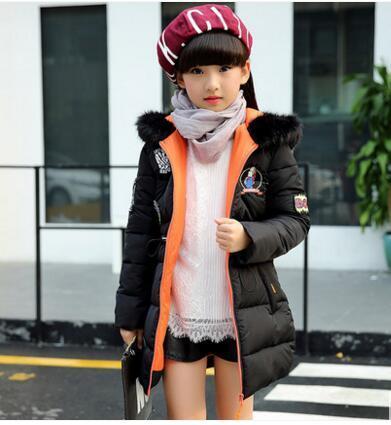 Мужской ребенок сверхдальние ватные куртки верхняя одежда средней длины утолщение Длинный участок детская пуховая куртка