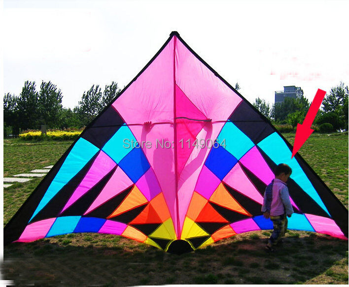 free shipping high quality 3.7m large rainbow delta kite with kite line easy control ripstop nylon fabric kite flying weifang(China (Mainland))