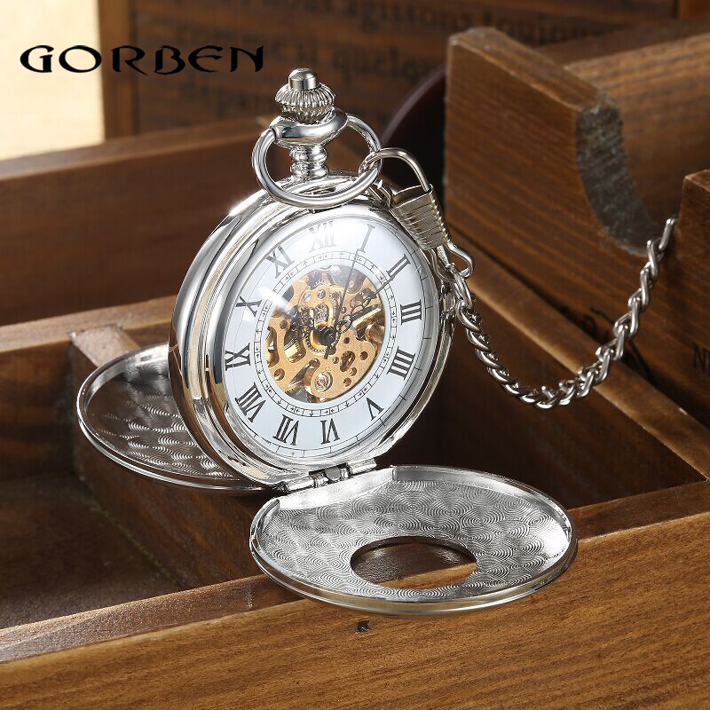 2016 Vintage Hollow Carving Analog Steampunk Mechanical Half Hunter Watch Roman Num Waist Chain 2 Side Men's Pocket Watches P402(China (Mainland))