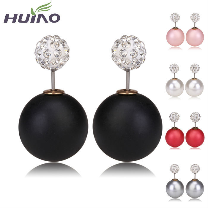 Cheapest Round Pearl Crystal Earrings 16Colors Mix...