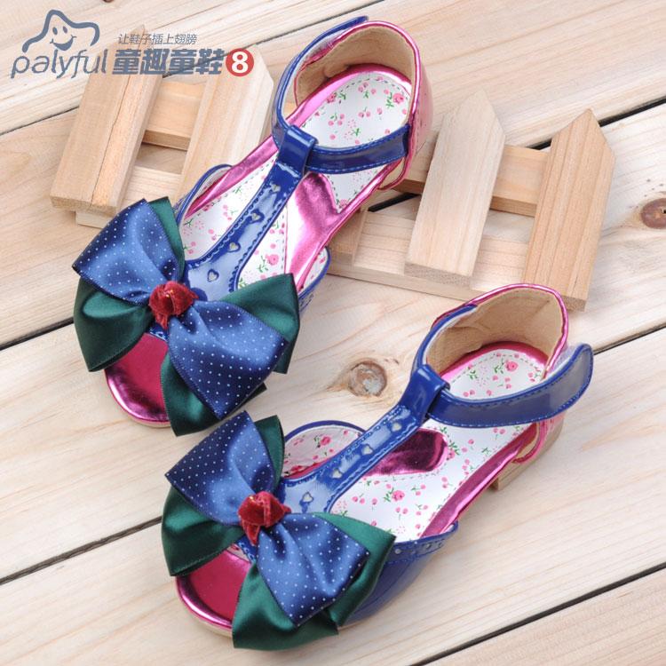 2014 shoes bow color block open toe female sandals child princess shoes leather<br><br>Aliexpress