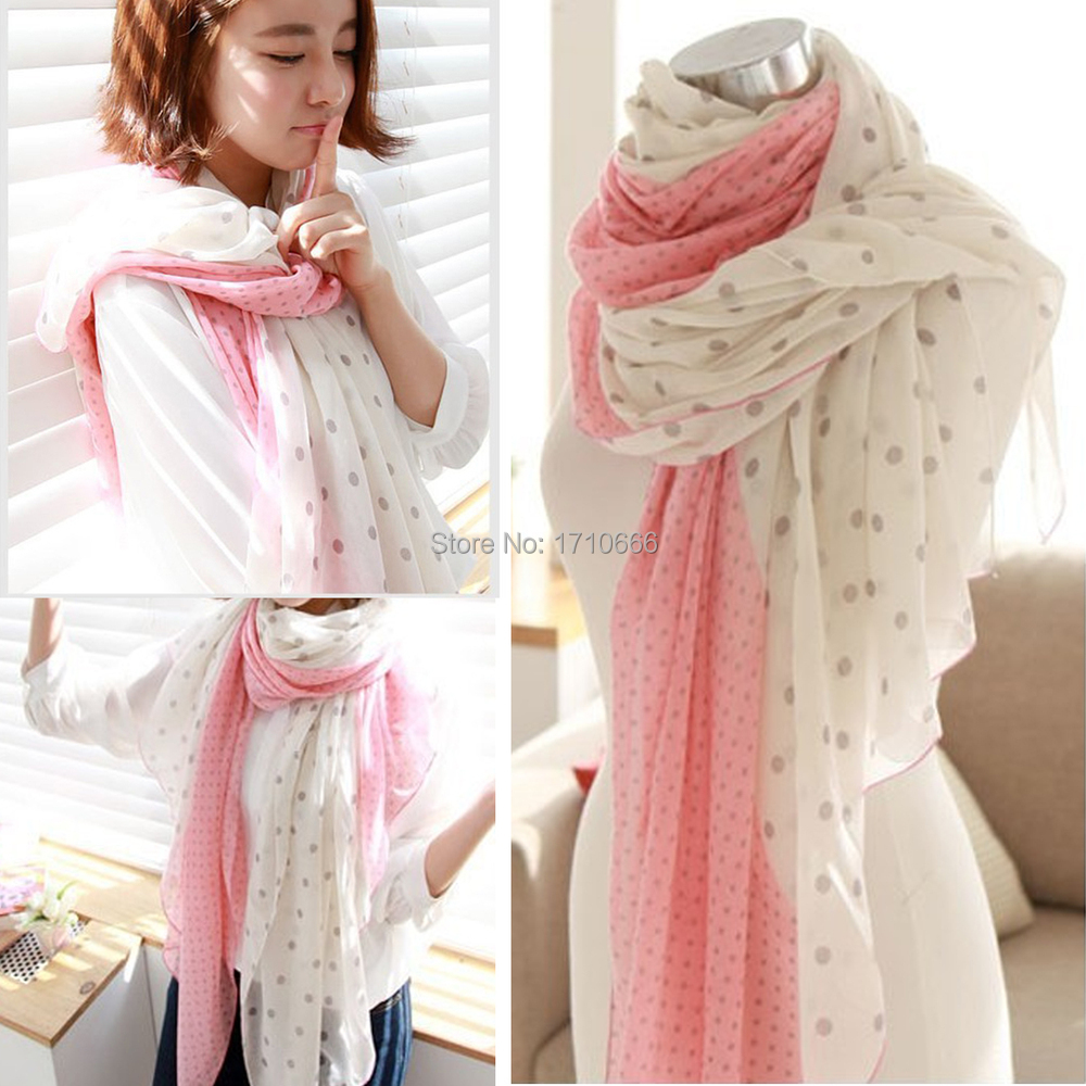 2015 New Brand Polka Dot voile Scarf Long Winter Warm Birthdays Gift scarf women 166*70cm Beach Shawl Wrap Stole Drop Free(China (Mainland))