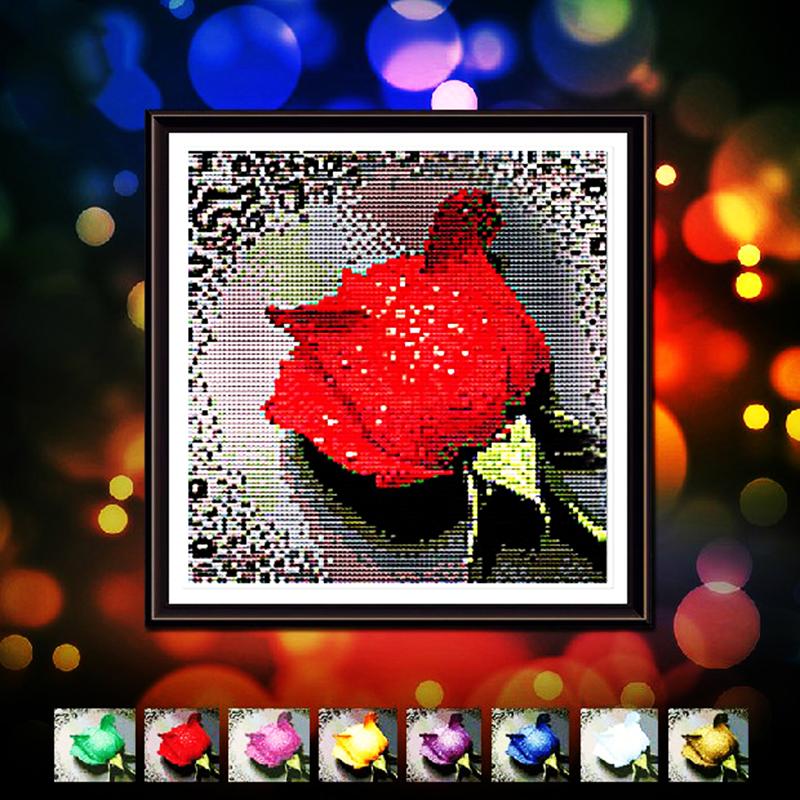 5d Diy Diamond Painting Dripping Rose 6 Color Shiny Diamond Embroidery Of Round Painting Rhinestones & Canvas Size 28cmx28cm(China (Mainland))