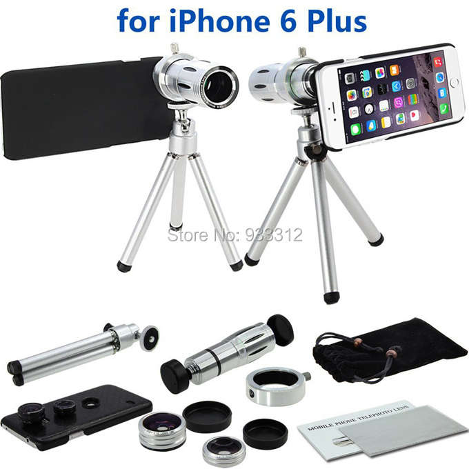 Hot Silver 4 in 1 Camera Awesome Lens Kit:12xOptical Telephoto Lens/Fisheye&amp;Macro&amp;Wide-angle Lens For iPhone6 Plus(5.5Inch)<br><br>Aliexpress