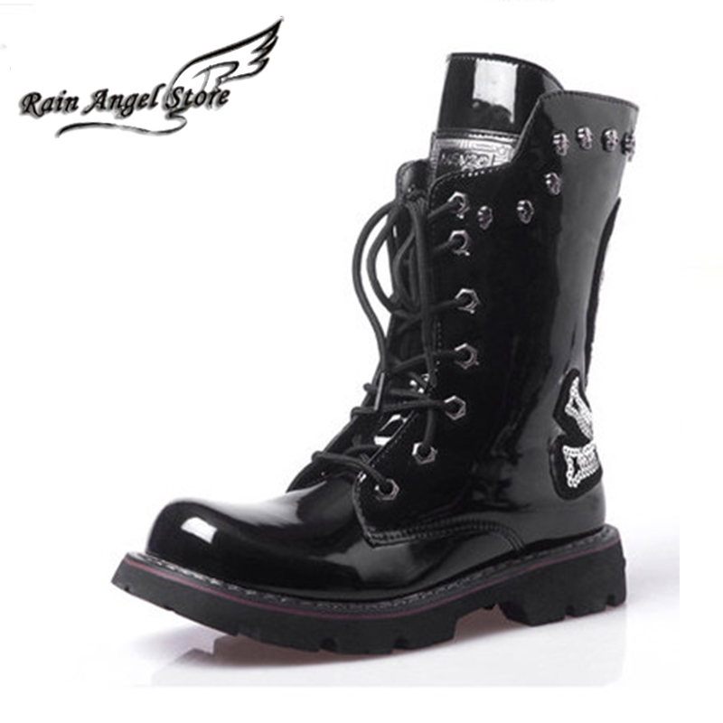 Фотография Personality Skull Boots Black Rivets Men Boots Motorcycle Lace Up PU Patent Leather Punk Boots Rock Sequins Skull Shoes