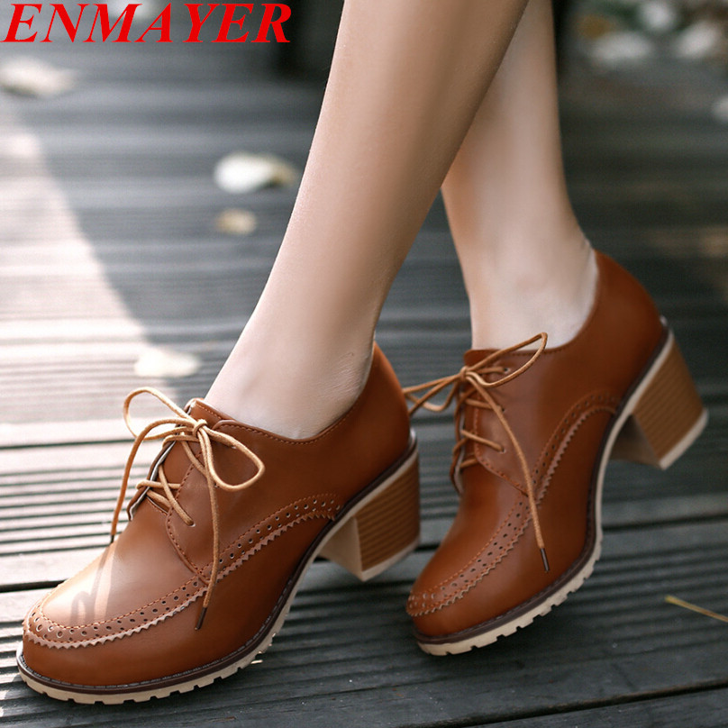 ENMAYER solid PU cut-outs Platform pumps Concise Leisure school shoes round toe comfort thick high heels women