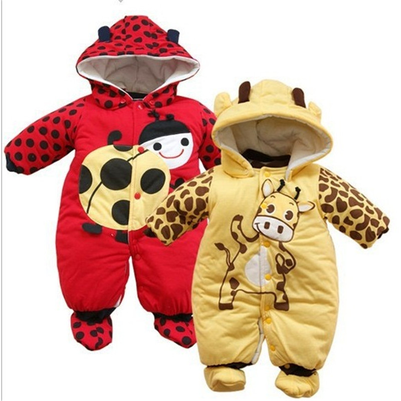 new Autumn Winter Clothing sets Cartoon Animal Style Cotton-padded Baby boys Rompers Ladybug And Cows Warm Kids girls badysuit<br><br>Aliexpress