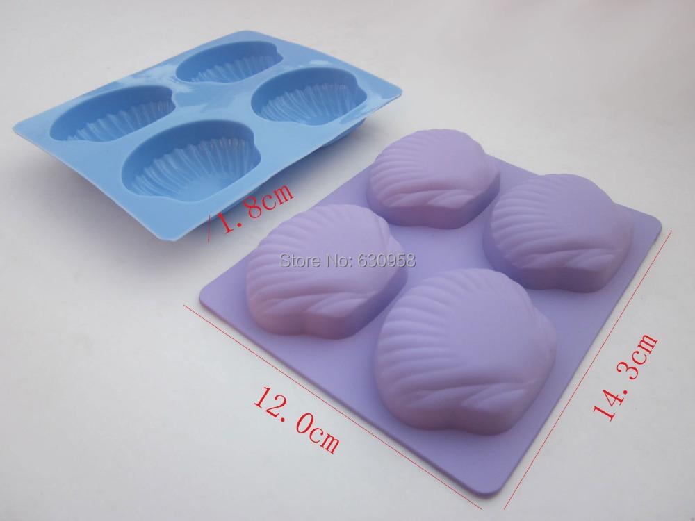 5 pcs/ lot 4 holes scallop shape semi-translucent saffron bule  color 100%  food grade silicone cake mould  soup mould