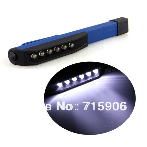Free shipping Emergency Car 6 LED Bright Inspection Work Working Light Lamp Blue wholesale