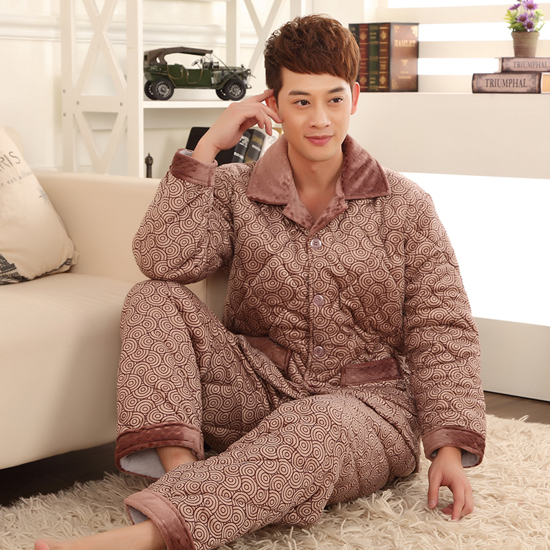Men pajama sets,thicker fleece pajamas,men's bodysuit long-sleeve coral fleece sleepwear(China (Mainland))