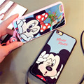New High Quality Mickey Minnie Mirror Style Neck Strap Fundas TPU Phone Cases Cover For iPhone