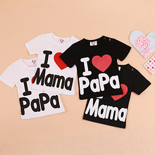Baby boys girls short sleeve t-shirt, summer kids clothes,cotton letter printed black white child tops tees, I Love mom&dad  7(China (Mainland))