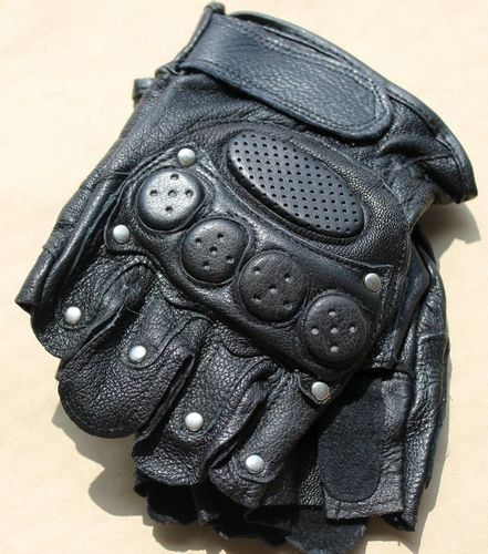 Mountain Biker Leather Punk Fingerless Gloves Motorcycle Driving Mens