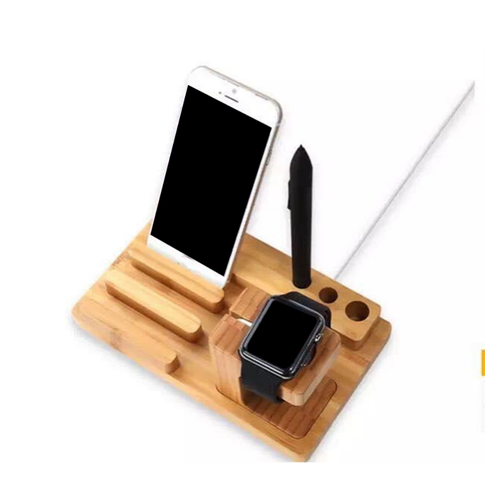 Fashion Multifunction Bamboo Phone Stander Holder for Apple iPhone 5 5s 6 6s Plus Watch iPad Tablet Office Desk Accessories(China (Mainland))