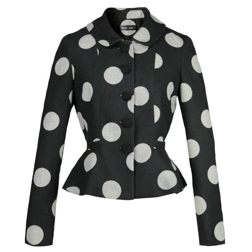 FREE SHIPPING 2016 New High Quality Long Sleeved Peter Pan Collar Single Breasted Wool Black Slim Suit Jacket Dot Short Coat