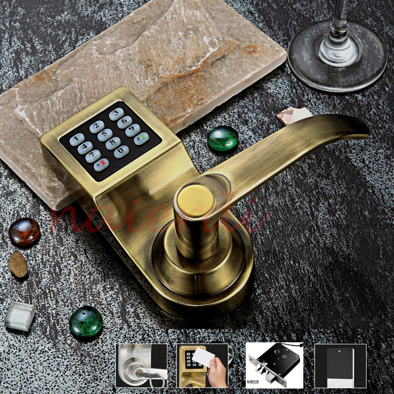 NED Bronze Hot Sale Electronic Induction Smart Digit Code Keypad Entry Door Lock With ID Reader Right Handle  And Card Unlock<br><br>Aliexpress