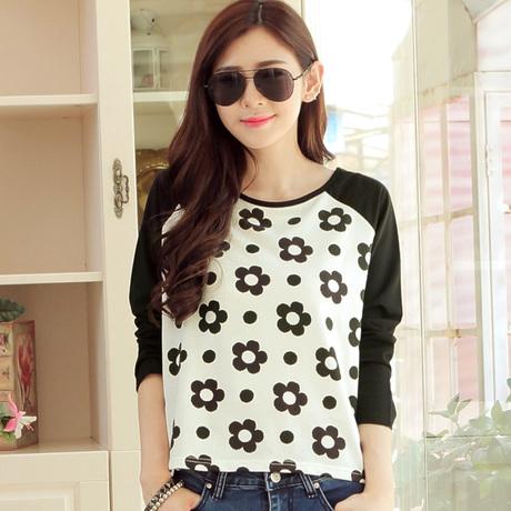 Long Sleeve Sunflower Print T Shirt Women Tops(China (Mainland))