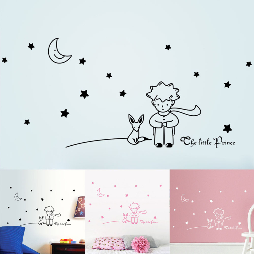 Happy Decorative Three Colors DIY Wall Stickers Stars Moon The Little Prince Boy Home Decor Wall Decals(China (Mainland))