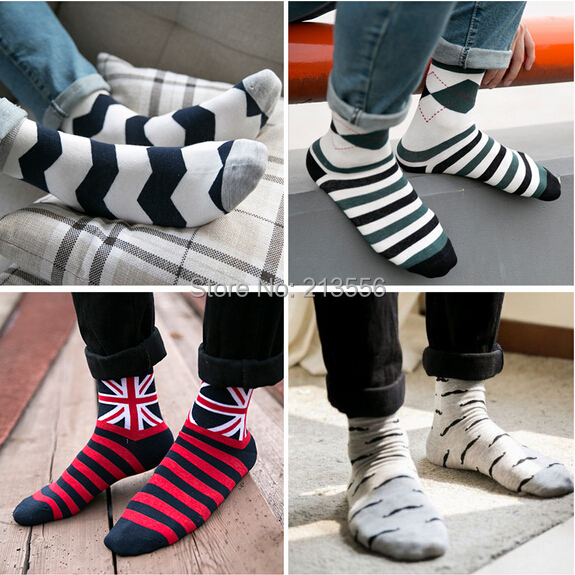 2015 new autumn and winter Japan and South Korea fashion men's socks striped Cotton socks 1 set = 5 pairs = 10 piece(China (Mainland))