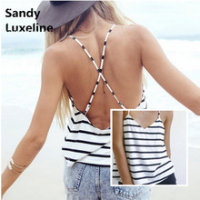 Casual Stripe Tank Top Women Soft Cotton V-neck Sexy Strappy Cross Back Summer Hot Beach Tank Tops 2016 Summer Style Cheap 003(China (Mainland))