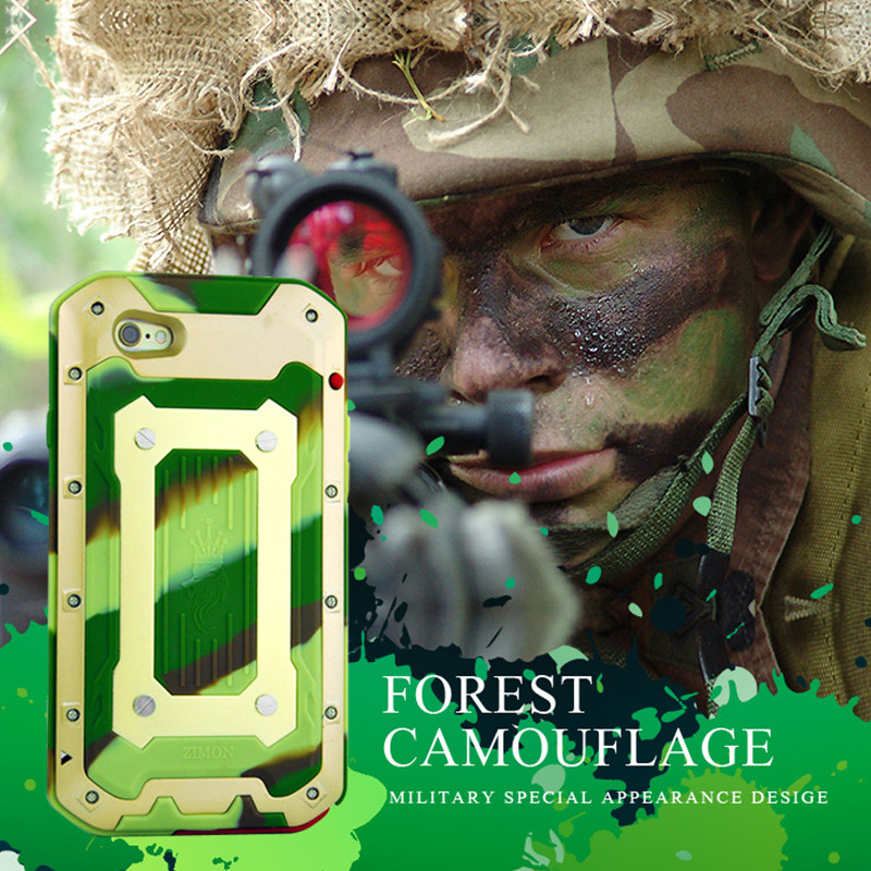 2016 New Phone Cases for IPhone 6S 6 S/ Plus Luxury Outdoor Army Camo Camouflage Silicone+ Metal Aluminum Waterproof Cover Case(China (Mainland))