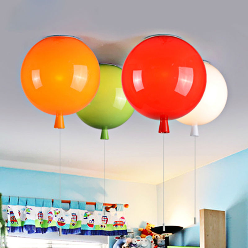 Modern Lustres Colorful Balloon Ceiling Light Acrylic Global Ball Lampshade Ceiling Lamp Kids Room Lamp Light Fixture luminaire(China (Mainland))