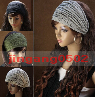 2015 New Stretchy Wide Lacy Head Band for Girl and Woman Hair Wide Turban Headwrap Women Bandanas Headband 1pc(China (Mainland))