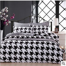 2015 new black and white bedding sets leaopard plaidbed cover quilted bed cover set(China (Mainland))