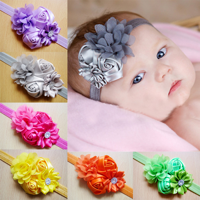 Q15 in cute and the chiffon flower hair band Head flower heads with children Baby hair accessories manufacturer wholesale rose(China (Mainland))