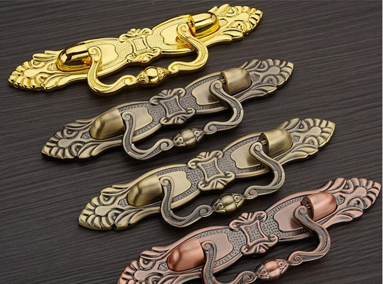UNILOCKS Furniture Fitting Kitchen System Ambry Knob And Shoe Cabinet Door Handle Classical Antique Bronze ( C:C:96MM L:172MM)(China (Mainland))