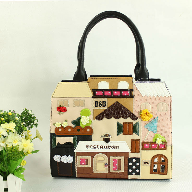 2015 Fashion Braccialini TO Lovely Romantic women Handbags Italy Handicraft Patchwork Personality Bags Sweet Shoulder Bags(China (Mainland))