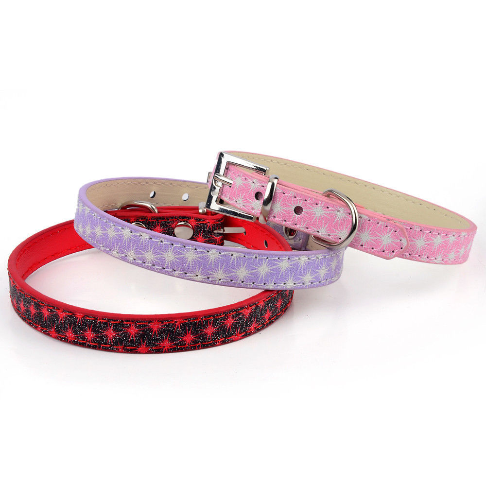 new small dog collar Puppy Collar with Pet cute PU Leather dogs collars Pet products pink purple(China (Mainland))