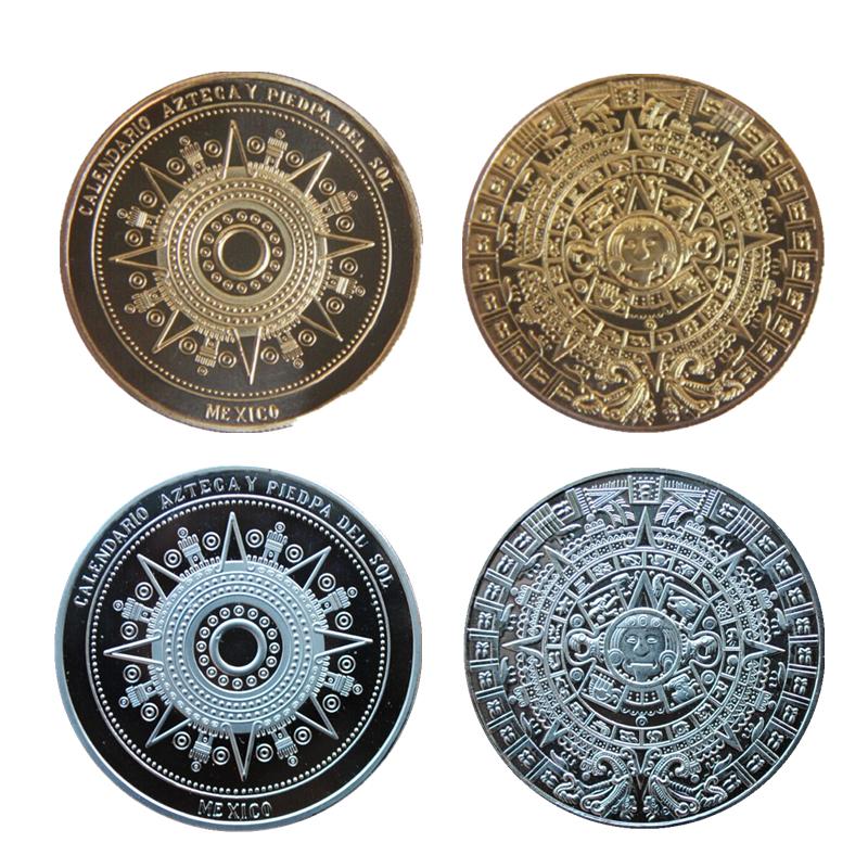 Novelty Mayan Prophecy Calendar Aztec Souvenir Coin Mexico Latin America Canada Russia Antique Gold And Silver Coin Home Decor(China (Mainland))