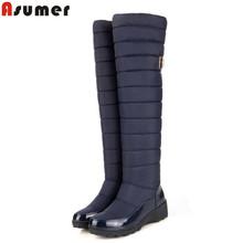 2016 nueva moda botas de invierno mantener a las mujeres calientes botas de nieve abajo de piel zapatos de plataforma de la moda de invierno botas altas hasta la rodilla de la gota gratis(China (Mainland))