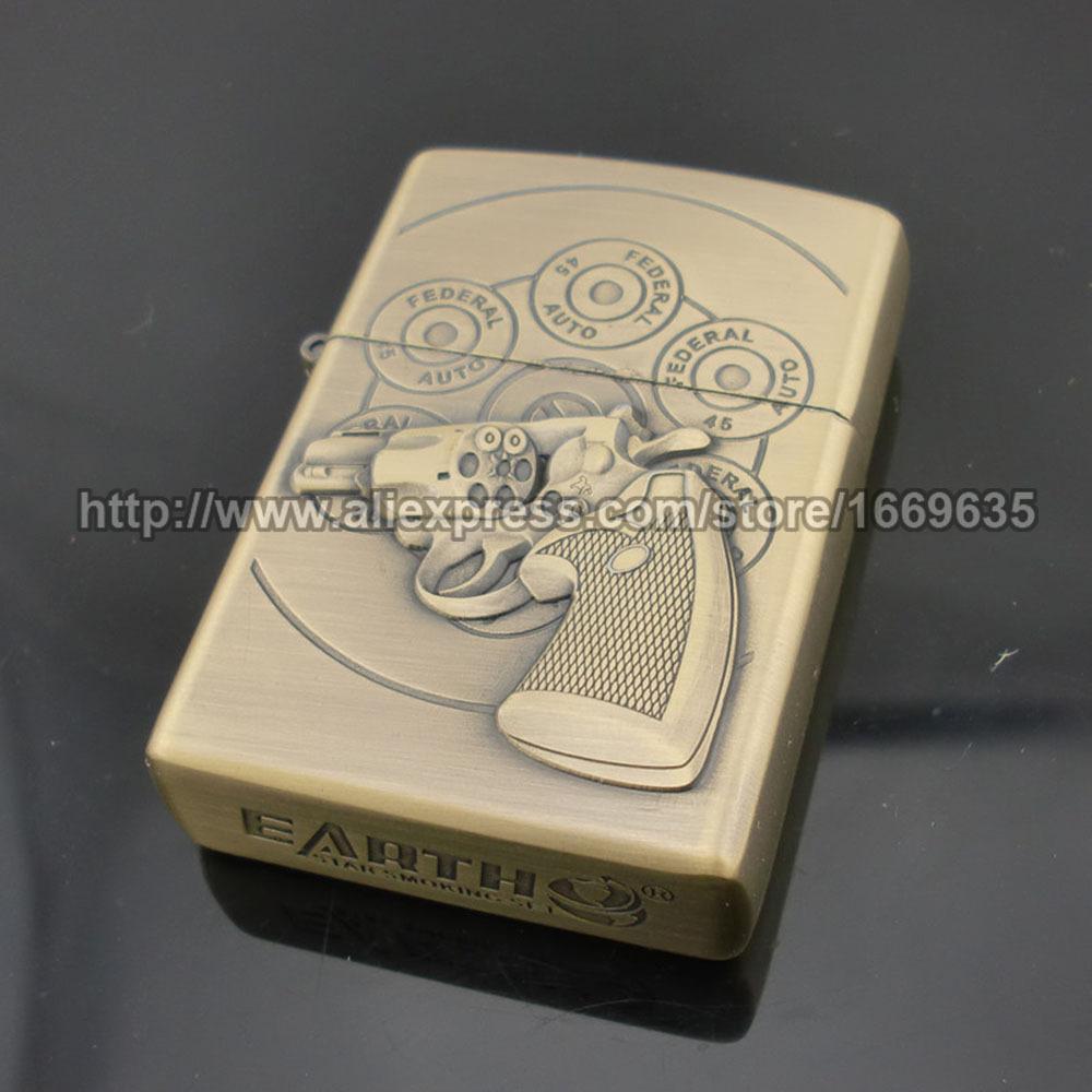 New Pistol Gun Revolver Pattern Metal Kerosene Oil Cigarette Cigar Windproof Lighter Classical Vintage Mat Lighter(China (Mainland))