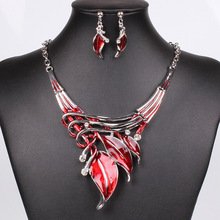 2015 Red Jewelry Sets Enamel Jewelry statement Necklace And Earring Set Crystal Jewelry Set Fashion Leaves Nickel Free(China (Mainland))