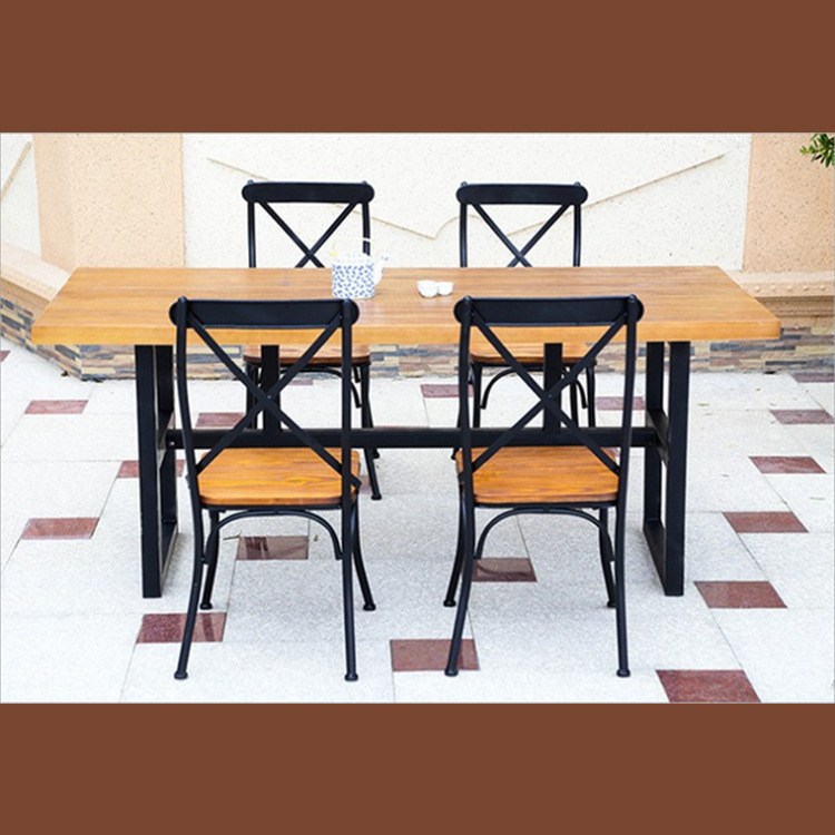 Zhengtian household employees in combination with solid wood dining tables and chairs, wrought iron tables and chairs combinatio<br><br>Aliexpress