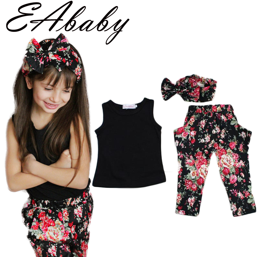 Summer style Girls Fashion floral casual suit children clothing set sleeveless outfit +headband 2015 summer new kids clothes set(China (Mainland))