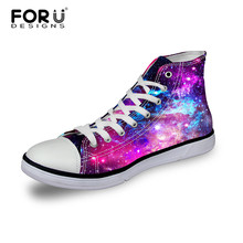 Hot Sale Women High-Top Canvas Shoes,Starry Night Galaxy Pattern Flat Shoes Unisex Casual Shoes,Female Sport Breathable Shoes