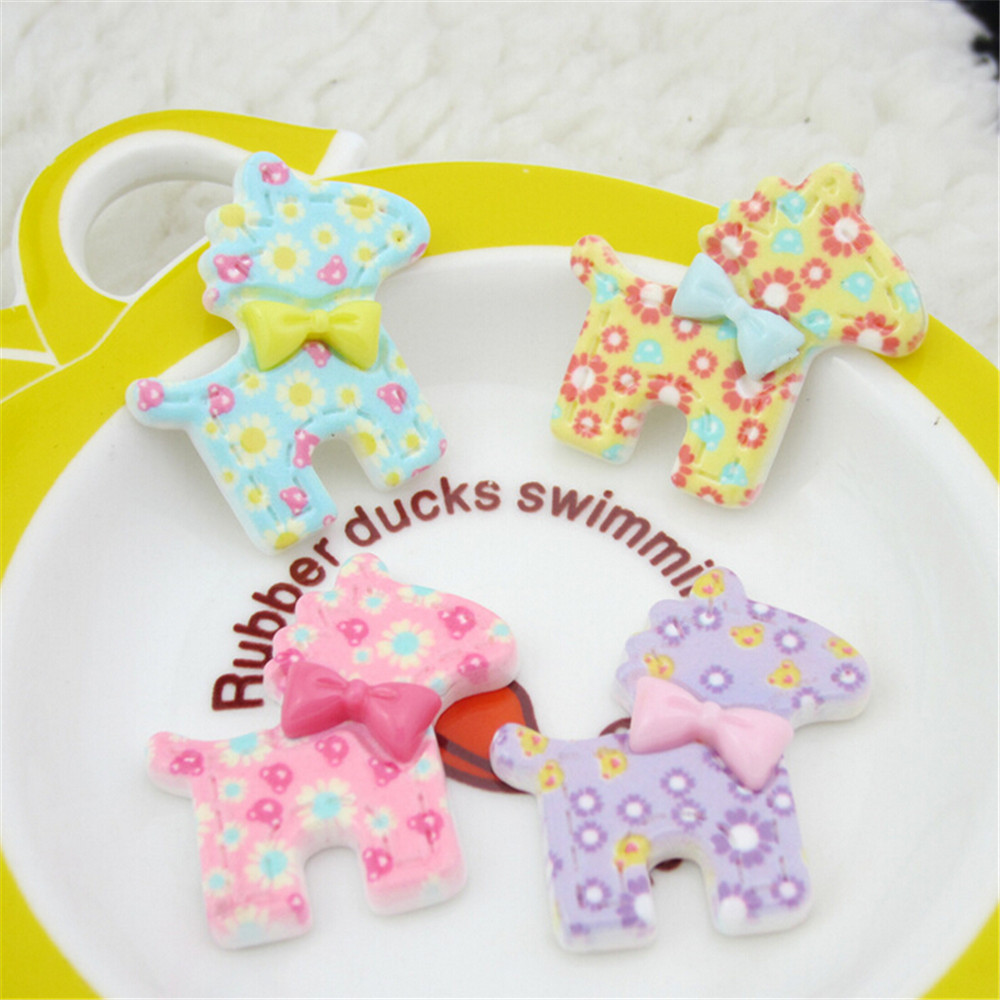 Puppy Dog Animal Resin Cabochon Crafts with Bow Decoration Mixed Color Flatback Flat Back DIY Resin Cameo Decor for Girls hair(China (Mainland))